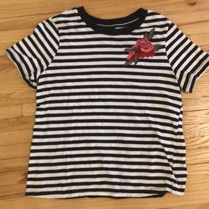 Striped T shirt with flower detail